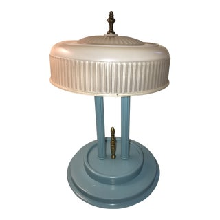 Turquoise Art Deco Desk Lamp with Horizontal Pressed Glass Shade For Sale