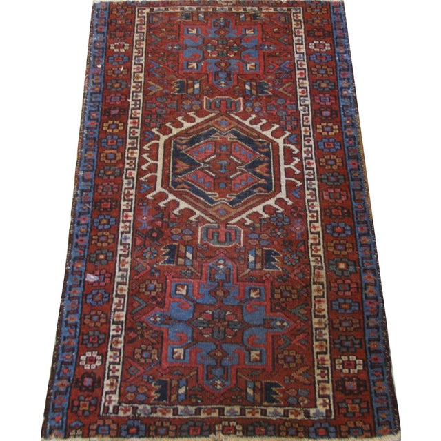 Style: Karaje Origin: Persian Hand Made 100% Wool Pile Color: Rust, Blue, White, Light Brown