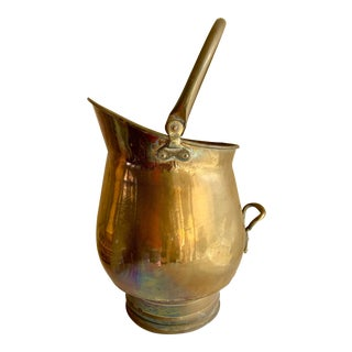 Vintage Rustic Large Brass Pail Decor Plant Vessel For Sale