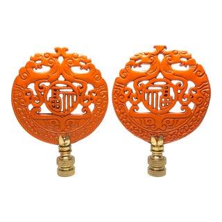 Orange Chinoiserie Lamp Finials - A Pair