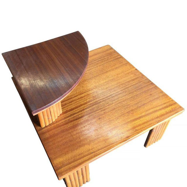 Mid-Century Modern Restored Corner Side Table Two-Tier Pole Rattan With Mahogany Top and Legs For Sale - Image 3 of 6