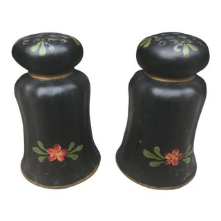 Tole Painted Salt & Pepper Shakers - a Pair For Sale