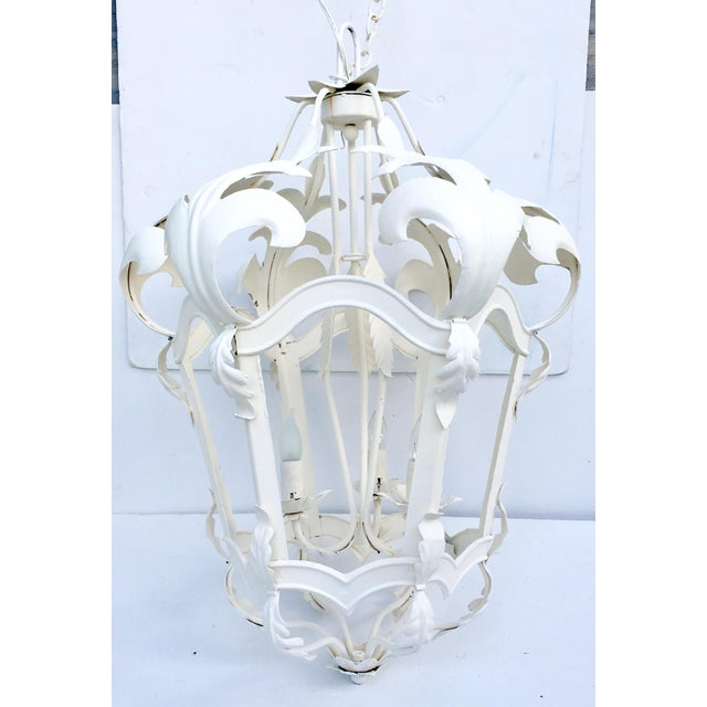 Venetian style white iron three light hanging lantern chandelier venetian style white iron three light hanging lantern chandelier image 3 of 9 aloadofball Image collections