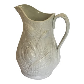 Large Jasperware English Floral Tulip Pitcher For Sale