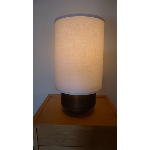 Paul Marra Modern Brass Table Lamp with Linen Shade For Sale - Image 4 of 9