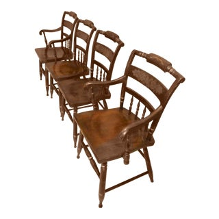 1980s Vintage Signed Hitchcock Walnut Chairs- Set of 4 For Sale