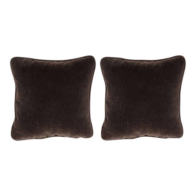 Gorgeous Pair of Square Custom Handmade Pillows in Chestnut Mohair with Piping For Sale