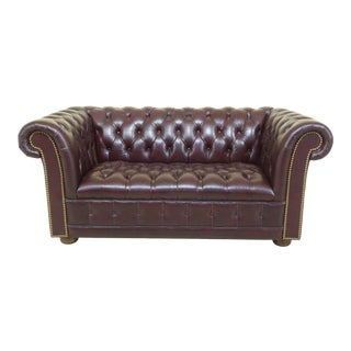 Burgundy Leather Small Chesterfield Loveseat Sofa For Sale