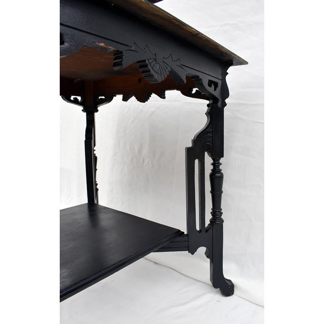 Vintage Carved Leg Wood Library Table For Sale - Image 4 of 5