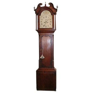 English Long Case Clock With a Porcelain Face, Circa 1780 For Sale