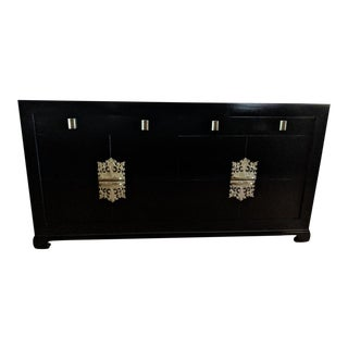 1940s Vintage Albert of Shelbyville High Gloss Black Dresser/Credenza For Sale