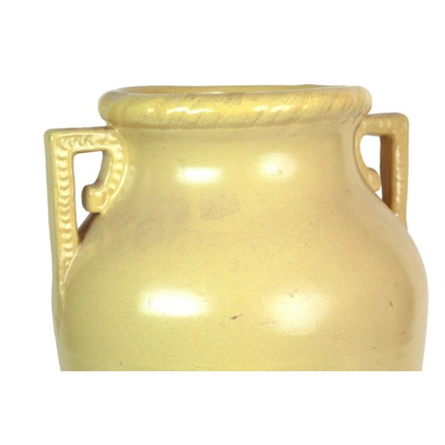 Boho Chic Mustard Yellow Art Pottery Floor Vase For Sale - Image 3 of 3