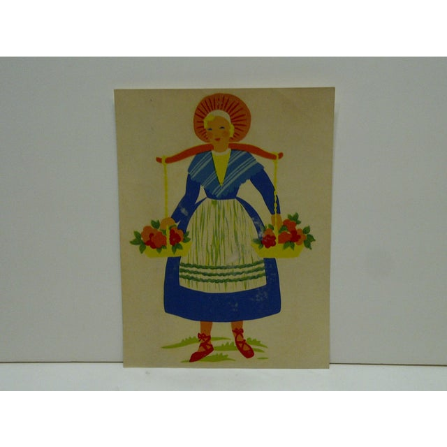 """This is a vintage decal / wall decoration titled """"Flower Girl"""" -- No. 152 -- by The Meyercord Company, Chicago Illinois...."""