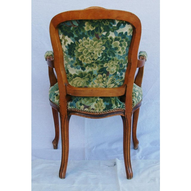Scalamandre Marly Velvet Tapestry Fabric Walnut Armchair For Sale - Image 11 of 11