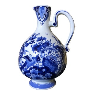 Early 20th Century Delft Hand Painted Pottery Jug For Sale