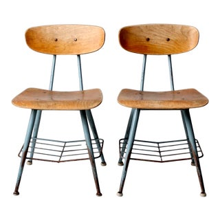 Mid-Century School Chairs - a Pair For Sale