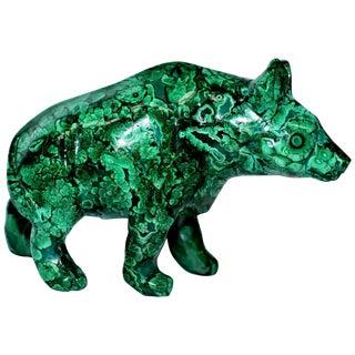 Malachite Bear Sculpture, 2 Lb All Natural 1st Grade For Sale