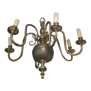 Traditional Brass 6 Candles Light Fixture Chandelier For Sale
