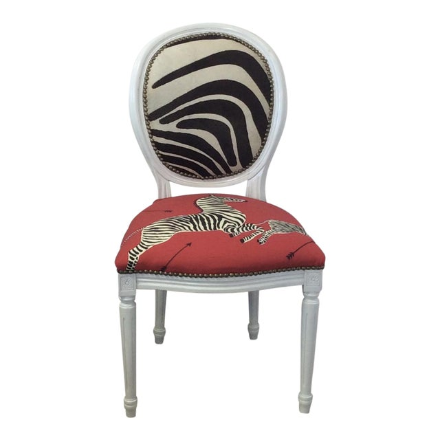 Louis XV Style White Round Back Side Chair - Scalamandre Zebra Fabric For Sale - Image 4 of 5
