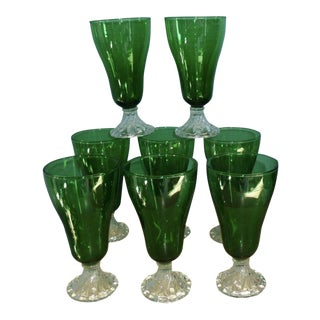 Anchor Hocking Forest Green Boopie Stemware Glasses - Set of 8 For Sale