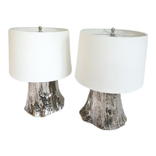 Organic Modern Metal Tree Stump Table Lamps - a Pair For Sale