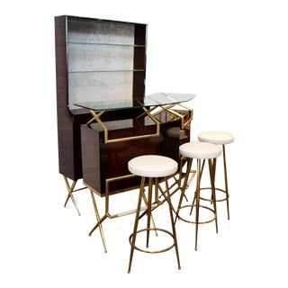 1960s Brass and Wood Italian Midcentury Bar - Set of 5 For Sale