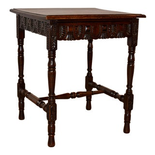 19th Century English Oak Side Table With Single-Drawer For Sale