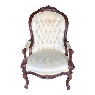 19th Century Victorian Carved Ladies Chair For Sale
