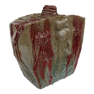 Substantial Heavy Glazed Pottery Sculpture, Signed For Sale