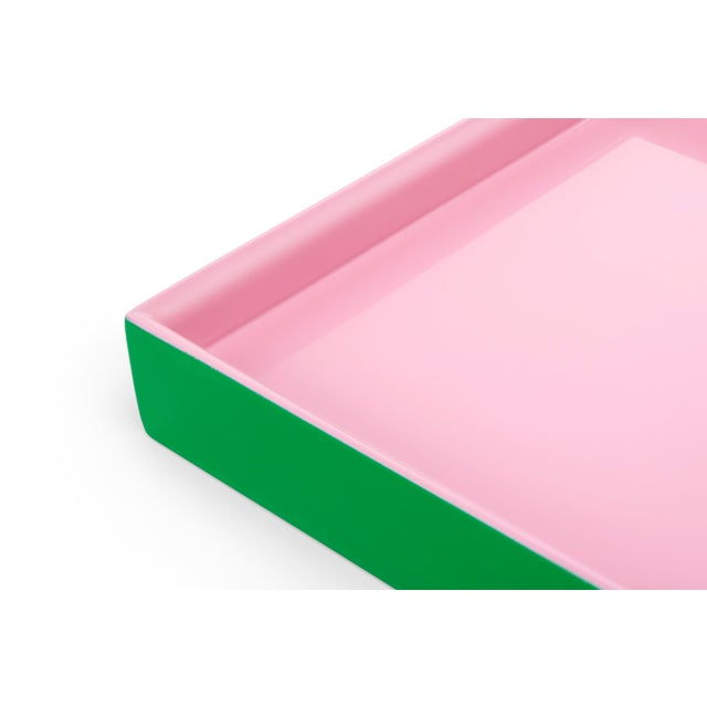 Contemporary Small Tray in Kelly Green / Pink - Pentreath & Hall for The Lacquer Company For Sale - Image 3 of 4