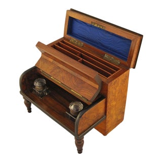 English Desk Set with Inkwells and Stationery Box For Sale