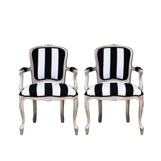 Vintage French White and Black Stripe Silver Louis XV Chairs - a Pair For Sale