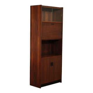 Mid Century Danish Modern Style Walnut Liquor, Bar Cabinet, Bookcase For Sale