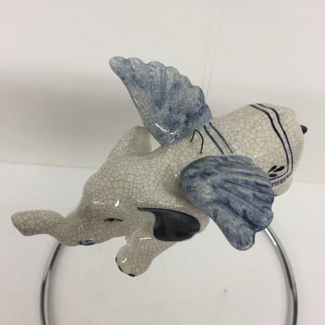 Hand Painted Artisan Ceramic Flying Elephant For Sale - Image 4 of 11