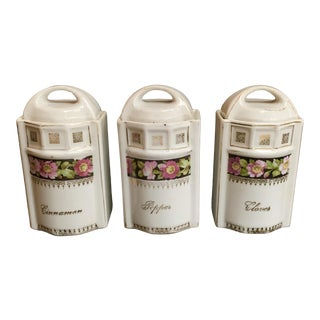 Art Nouveau L & R Germany Spice Condiments Jars Set of 3 For Sale
