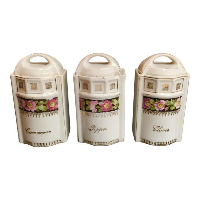 Art Nouveau L & R Germany Spice Condiments Jars Set of 3 For Sale