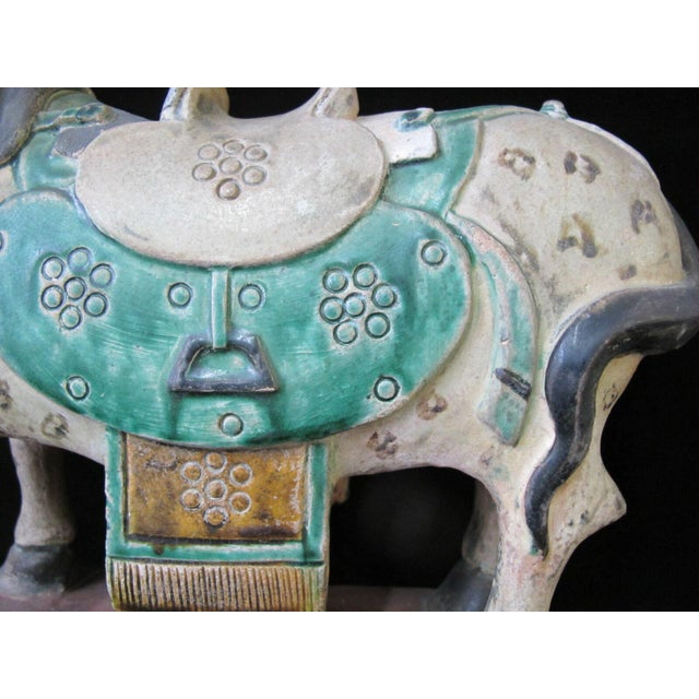 Chinese Early 20th Century Horse on Stand Chinese Green Sancai Glaze Terra Cotta Pottery Figurine For Sale - Image 3 of 11