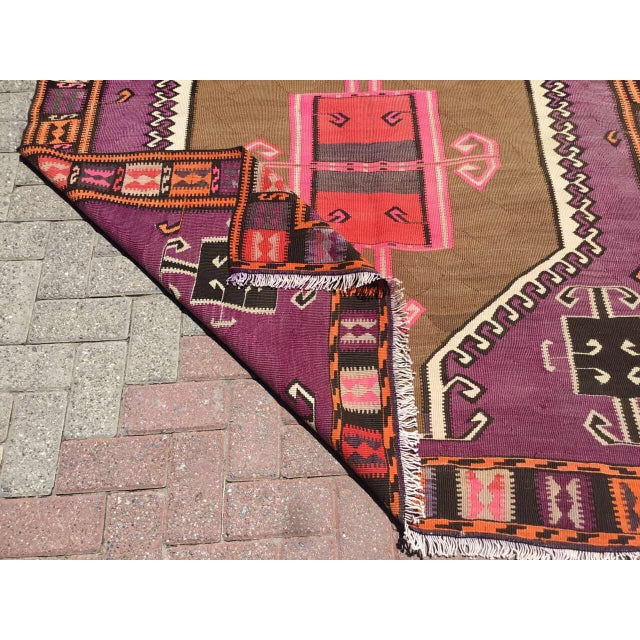 Pink Vintage Purple Kilim Rug For Sale - Image 8 of 9