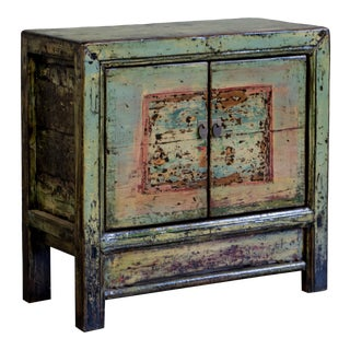 Antique Blue/Green Painted Chinese Cabinet - Small For Sale