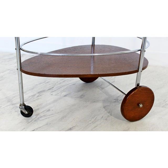 Silver Art Deco Modern Chrome & Wood 2-Tier Bar Serving Server Cart Treitel Gratz 1940s For Sale - Image 8 of 12