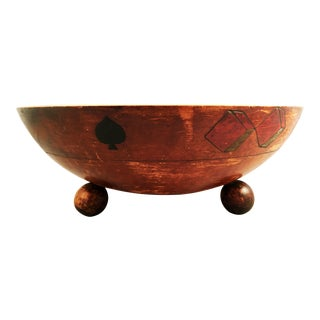 Early 20th Century Antique German Hand Turned Casino Bowl For Sale