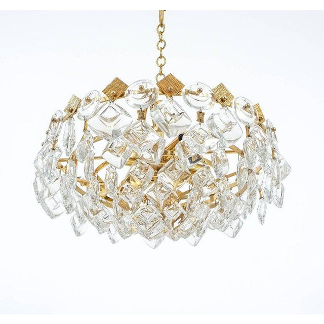 Mid-Century Modern Petite Gilded Brass and Glass Chandelier Lamp by Palwa, 1970 For Sale - Image 3 of 8