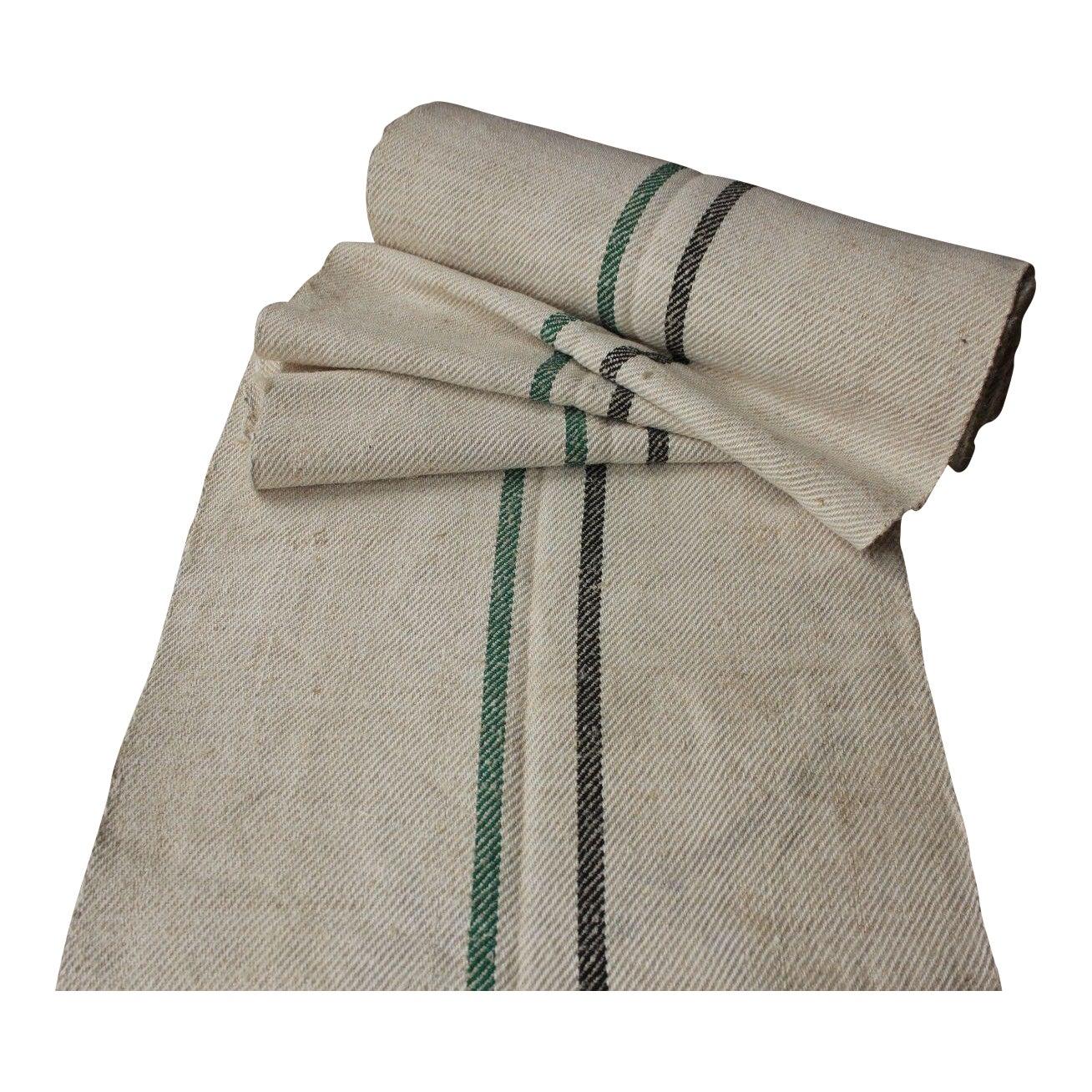 Grain Sack Fabric Black stripes Antique Grain sack fabric hand made