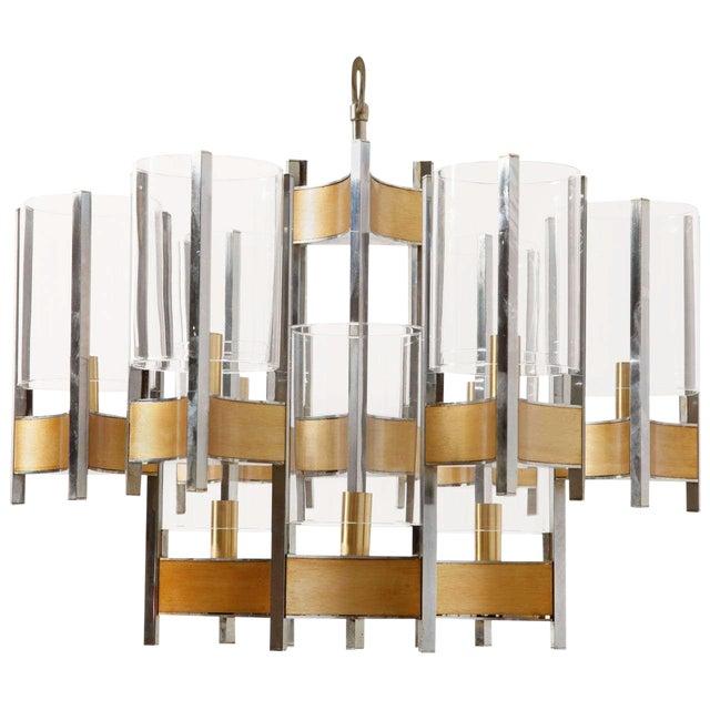 Sciolari Brass Glass Sculptural Chandelier,1970s For Sale