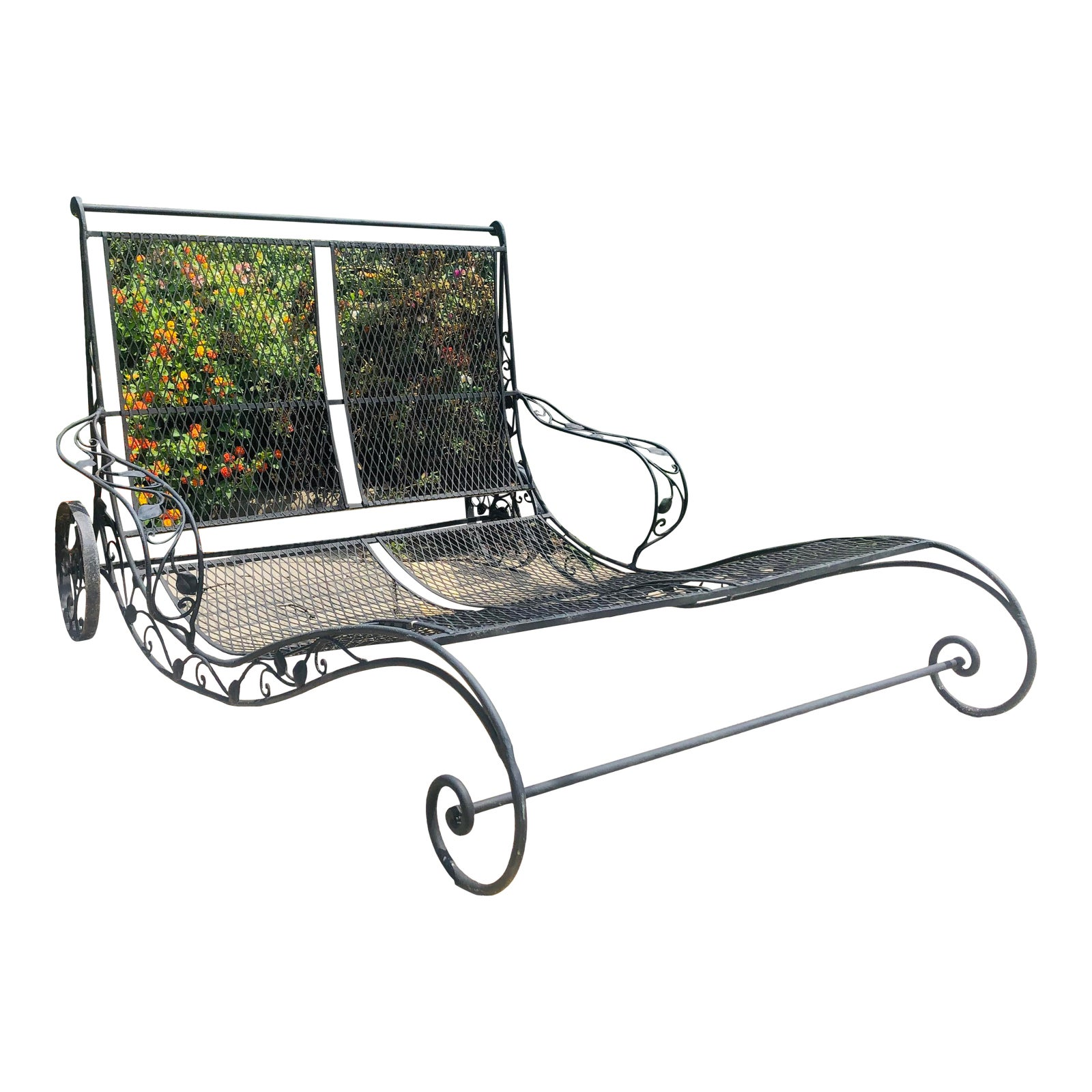 Vintage Wrought Iron Double Chaise Lounge | Chairish