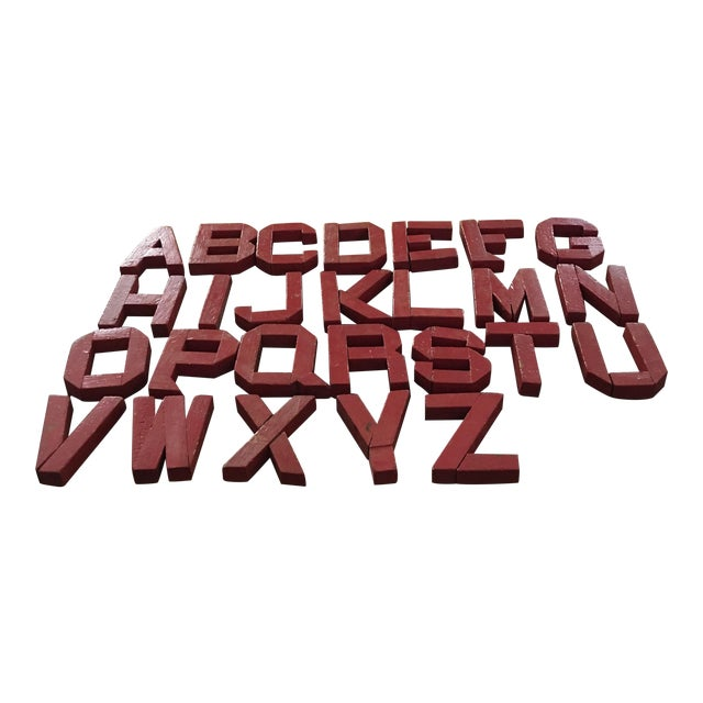 Vintage Red Wooden Alphabet Letters - 26 Pieces - Image 1 of 7