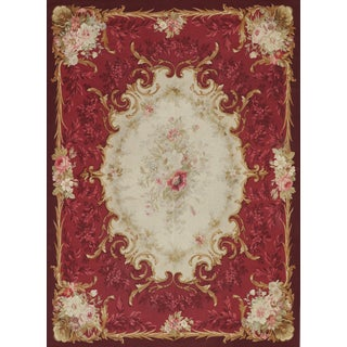 Mid-19th Century Napoleon III Period Handwoven Antique Aubusson Wool & Silk Rug For Sale