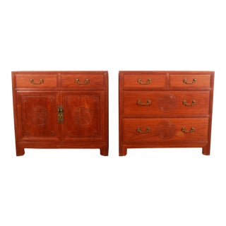 Mid Century Modern Solid Teak Dresser & Cabinet by George Zee - a Pair For Sale