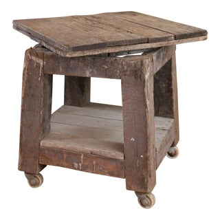FRENCH POTTER'S WOODEN TABLE ON CASTERS CIRCA 1910