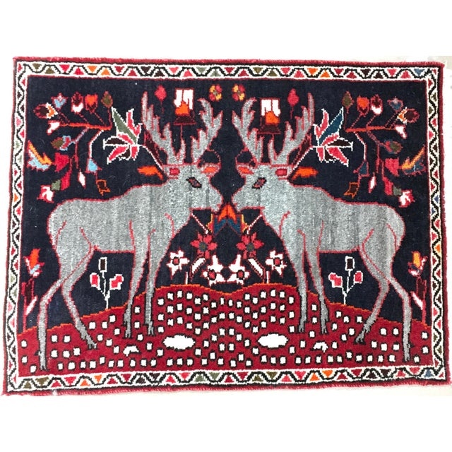 "Folk Art Persian Two Reindeer Pictorial Rug - 2'10"" X 2'2"" For Sale - Image 3 of 3"